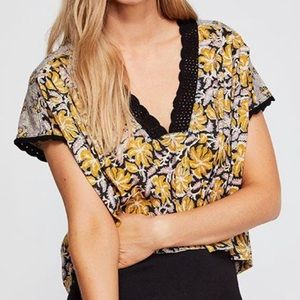 Free People Leilani floral print lace trimmed top